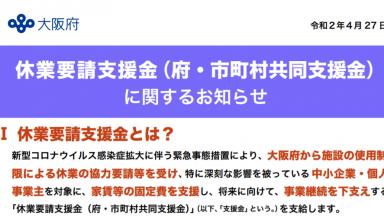 休業要請支援金(府・市町村共同支援金)の申請受付が開始されました